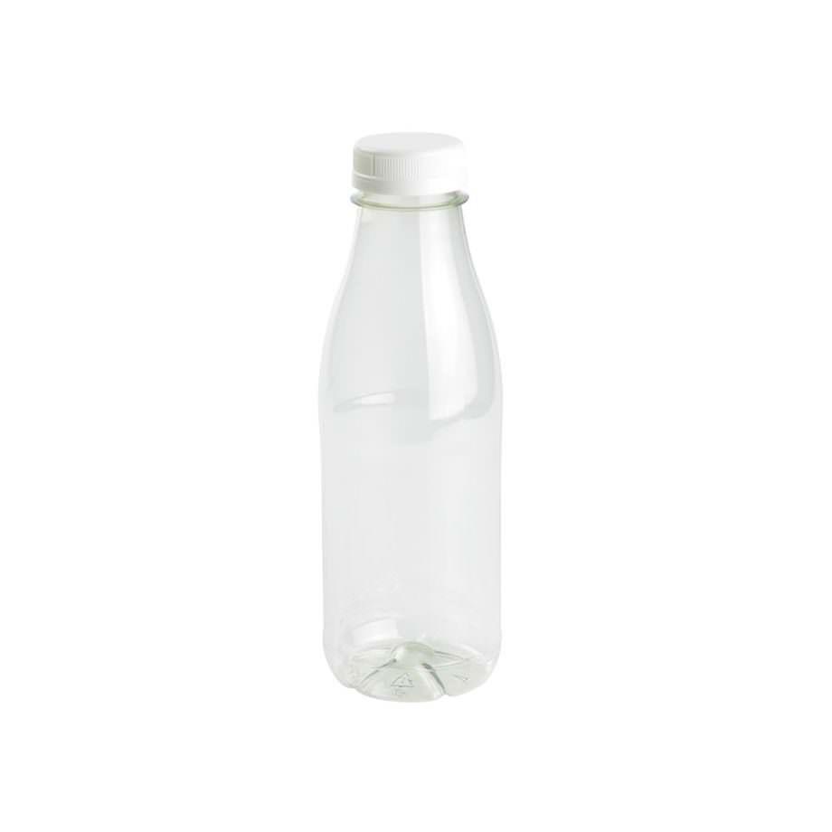 Botella rellenable de rPET, transparente, tapa blanca, 500 ml Las botellas de Bionatic Spain son 100% ecológicas, biodegradables, sostenibles y desechables. Biopacksystems es ahora Bionatic Spain, especialistas en envases ecológicos para alimentación desde 2010. La primera tienda online de envases ecológicos, biodegradables y compostables de calidad. Bionatic Spain ofrece una gama de productos ecológicos y 100% biodegradables a empresas de catering, restaurantes, truck food. Los envases de Bionatic Spain, son perfectos para take away, para llevar la comida que sobra en el restaurante y para comida para llevar en general. Los productos de biopacksystems y Bionatic Spain, son de calidad garantizada y con todos los certificados que exige la comunidad europea.