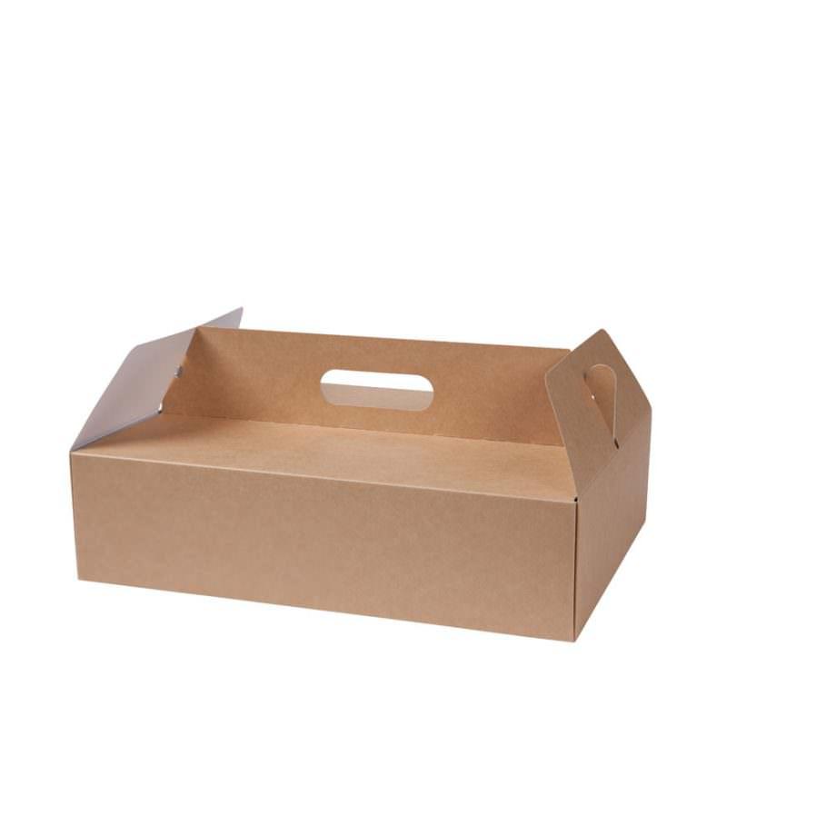 """Caja para pastelería bio de cartón kraft """"XL"""", 34 x 24 x 15,5 cm Las cajas de Bionatic Spain son 100% ecológicas, biodegradables, sostenibles y desechables. Biopacksystems es ahora Bionatic Spain, especialistas en envases ecológicos para alimentación desde 2010. La primera tienda online de envases ecológicos, biodegradables y compostables de calidad. Bionatic Spain ofrece una gama de productos ecológicos y 100% biodegradables a empresas de catering, restaurantes, truck food. Los envases de Bionatic Spain, son perfectos para take away, para llevar la comida que sobra en el restaurante y para comida para llevar en general. Los productos de biopacksystems y Bionatic Spain, son de calidad garantizada y con todos los certificados que exige la comunidad europea."""