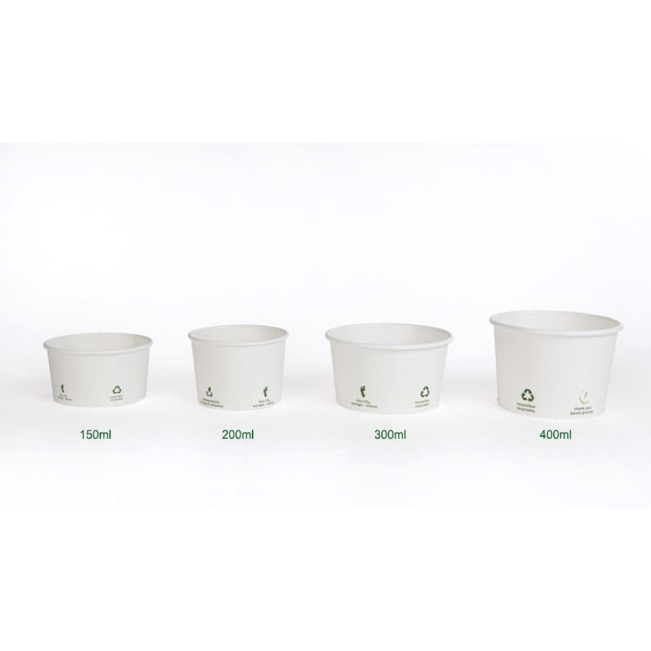 Tarrina universal de cartón biodegradable blanco, 200 ml, Ø 90 mm Las tarrinas de helado de Bionatic Spain son 100% ecológicas, biodegradables, sostenibles y desechables. Biopacksystems es ahora Bionatic Spain, especialistas en envases ecológicos para alimentación desde 2010. La primera tienda online de envases ecológicos, biodegradables y compostables de calidad. Bionatic Spain ofrece una gama de productos ecológicos y 100% biodegradables a empresas de catering, restaurantes, truck food. Los envases de Bionatic Spain, son perfectos para take away, para llevar la comida que sobra en el restaurante y para comida para llevar en general. Los productos de biopacksystems y Bionatic Spain, son de calidad garantizada y con todos los certificados que exige la comunidad europea.