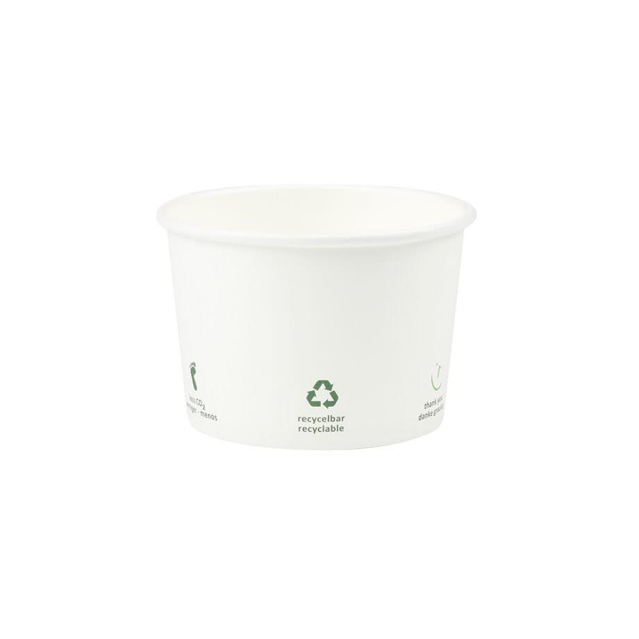 Tarrina universal de cartón eco blanco, 200 ml, Ø 90 mm, con iconos Las tarrinas de helado de Bionatic Spain son 100% ecológicas, biodegradables, sostenibles y desechables. Biopacksystems es ahora Bionatic Spain, especialistas en envases ecológicos para alimentación desde 2010. La primera tienda online de envases ecológicos, biodegradables y compostables de calidad. Bionatic Spain ofrece una gama de productos ecológicos y 100% biodegradables a empresas de catering, restaurantes, truck food. Los envases de Bionatic Spain, son perfectos para take away, para llevar la comida que sobra en el restaurante y para comida para llevar en general. Los productos de biopacksystems y Bionatic Spain, son de calidad garantizada y con todos los certificados que exige la comunidad europea.