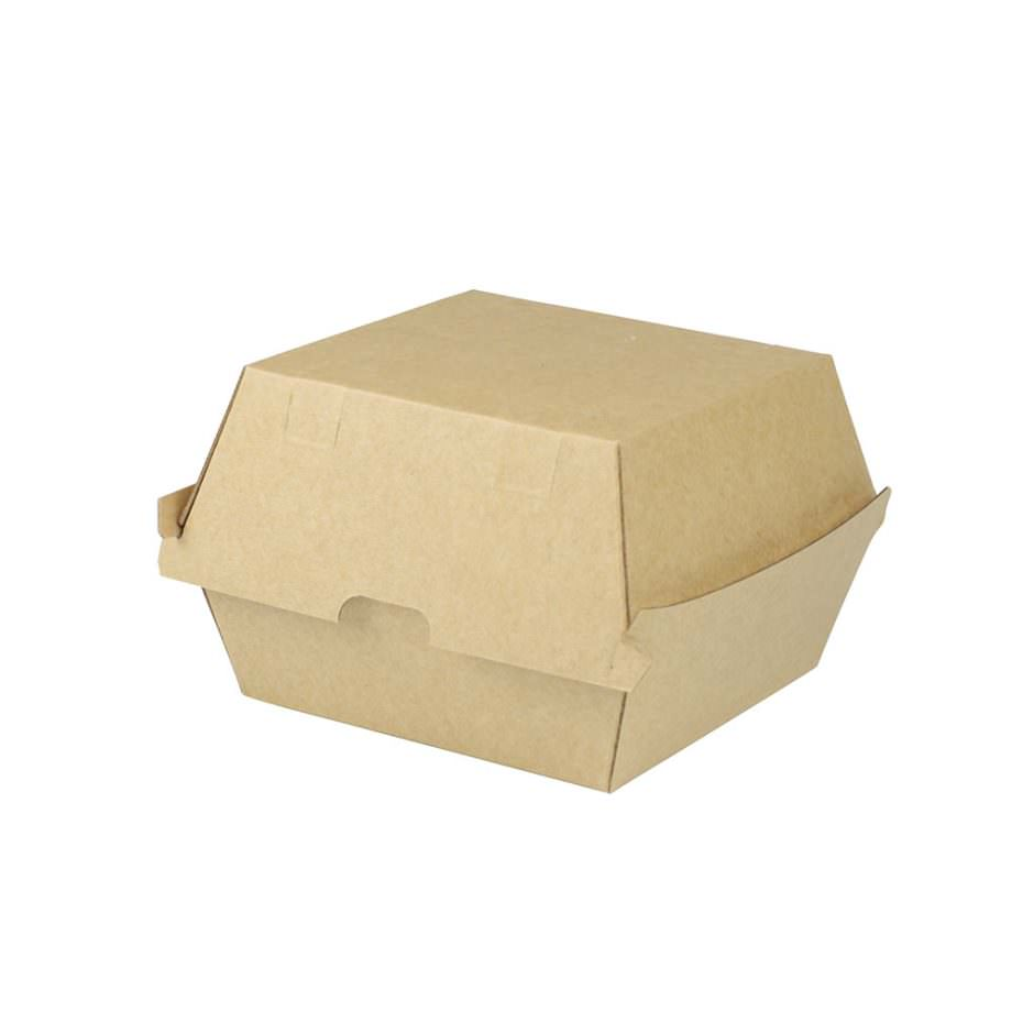Caja para hamburguesa de cartón kraft, 13 x 14 x 8 cm Las cajas de Bionatic Spain son 100% ecológicas, biodegradables, sostenibles y desechables. Biopacksystems es ahora Bionatic Spain, especialistas en envases ecológicos para alimentación desde 2010. La primera tienda online de envases ecológicos, biodegradables y compostables de calidad. Bionatic Spain ofrece una gama de productos ecológicos y 100% biodegradables a empresas de catering, restaurantes, truck food. Los envases de Bionatic Spain, son perfectos para take away, para llevar la comida que sobra en el restaurante y para comida para llevar en general. Los productos de biopacksystems y Bionatic Spain, son de calidad garantizada y con todos los certificados que exige la comunidad europea.