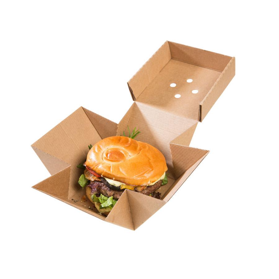 Caja para hamburguesa XL, cartón kraft, 13 x 13 x 10 cm Las cajas de Bionatic Spain son 100% ecológicas, biodegradables, sostenibles y desechables. Biopacksystems es ahora Bionatic Spain, especialistas en envases ecológicos para alimentación desde 2010. La primera tienda online de envases ecológicos, biodegradables y compostables de calidad. Bionatic Spain ofrece una gama de productos ecológicos y 100% biodegradables a empresas de catering, restaurantes, truck food. Los envases de Bionatic Spain, son perfectos para take away, para llevar la comida que sobra en el restaurante y para comida para llevar en general. Los productos de biopacksystems y Bionatic Spain, son de calidad garantizada y con todos los certificados que exige la comunidad europea.